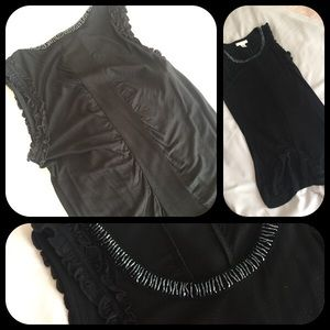 Black top beaded neckline rouch detail back
